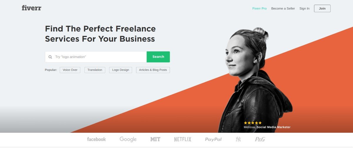 Fiverr Marketplace Homepage 2019