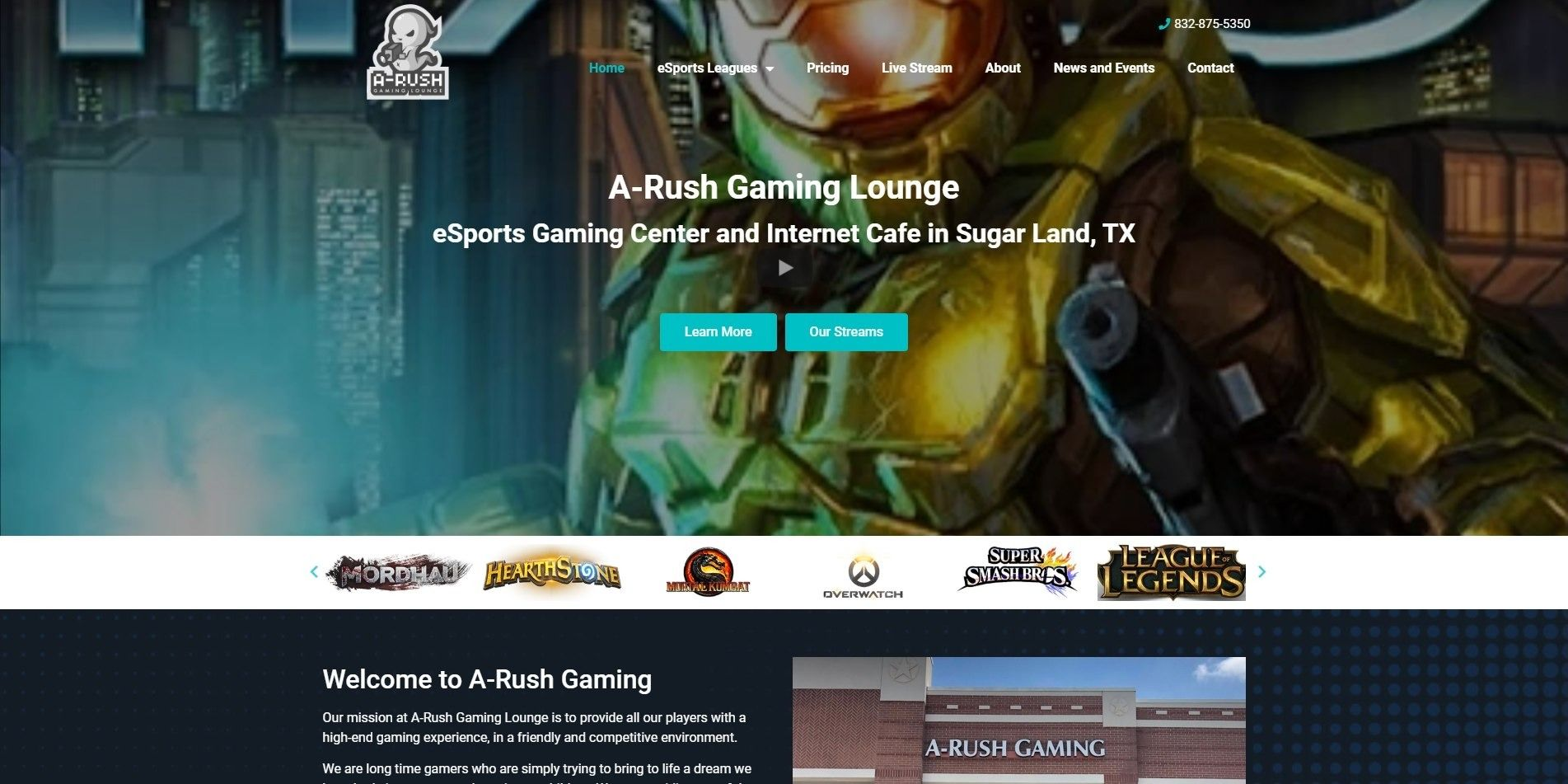 eSports Gaming Center Homepage