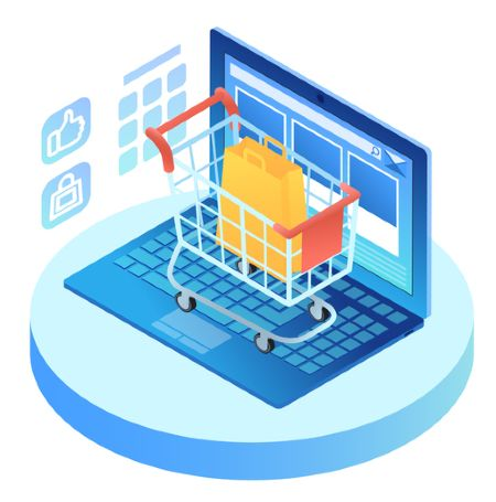 e-commerce website design with cart graphic