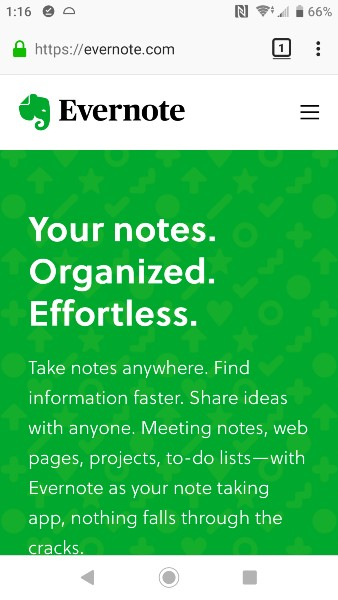 Mobile First Design Example - Evernote Website on a Phone