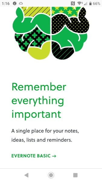 Evernote Website on a Phone