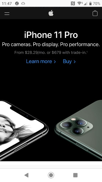 Mobile First Design Example - Apple Homepage